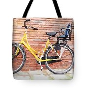 Yellow Bicycle Digital Watercolour Tote Bag
