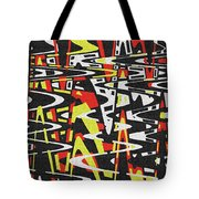 Yellow Black Red White Drawing Abstract Tote Bag