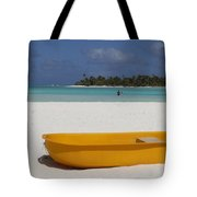 Yellow Boat In South Pacific Tote Bag