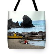 Yellow Boat On The Beach Tote Bag