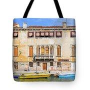 Yellow Boat - Venice Italy Tote Bag