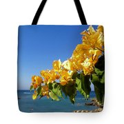 Yellow Bougainvillea Over The Mediterranean On The Island Of Cyprus Tote Bag