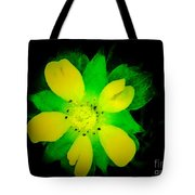 Yellow Buttercup On Black Background Tote Bag