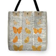 Yellow Butterflies Over Dictionary Book Page Tote Bag by Anna W