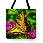 Yellow Butterfly In The Garden Tote Bag