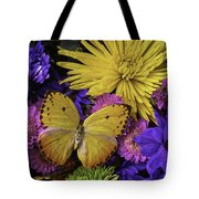 Yellow Butterfly On Bouquet Tote Bag