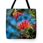 Yellow Butterfly On Red Flowers Tote Bag