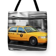 Yellow Cab In Manhattan In A Rainy Day. Tote Bag