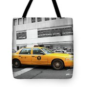 Yellow Cab In Manhattan With Black And White Background Tote Bag
