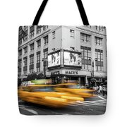 Yellow Cabs Near Macy's Department Store, New York Tote Bag
