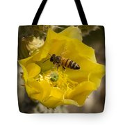 Yellow Cactus Flower With Wasp Tote Bag