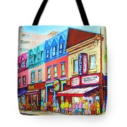 Yellow Car At The Smoked Meat Lineup Tote Bag