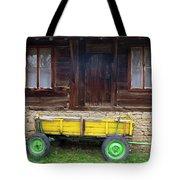 Yellow Cart And Green Wheels  Tote Bag