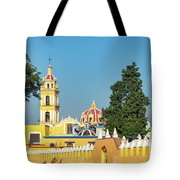 Yellow Church In Cholula, Mexico Tote Bag