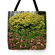 Yellow Coleus And Lantana At Pilgrim Place In Claremont-california Tote Bag
