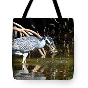 Yellow Crowned Night Heron Catches A Crab Tote Bag