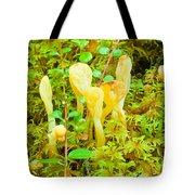 Yellow Fairy Fan Mushrooms Spathularia Flavida Tote Bag