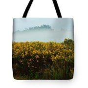 Yellow Field And The Fog Tote Bag