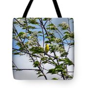 Yellow Finch And Flowers Tote Bag