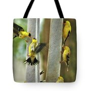 Yellow Finch Feeding Frenzy Tote Bag