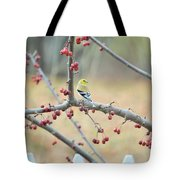 Yellow Finch In Crab Apple Tree Tote Bag
