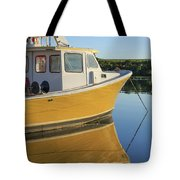 Yellow Fishing Boat Early Morning Tote Bag