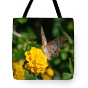 Yellow Flower Brown Fly Tote Bag
