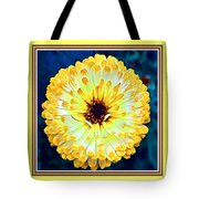 Yellow Flower H B With Decorative Ornate Printed Frame Tote Bag