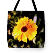 Yellow Flower With Rain Drops Tote Bag