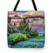 Yellow Flowers In The Desert Tote Bag