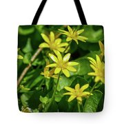 Yellow Flowers On A Green Carpet Tote Bag