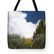 Yellow Flowers White Cloud Tote Bag