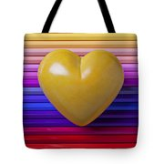 Yellow Heart On Row Of Colored Pencils Tote Bag