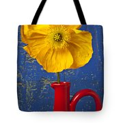 Yellow Iceland Poppy Red Pitcher Tote Bag