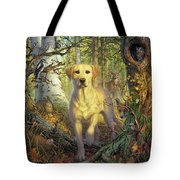 Yellow Lab In Fall Tote Bag