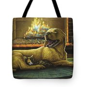 Yellow Lab With Kitten Tote Bag