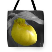 Yellow Lady Slipper Partial Tote Bag