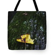 Yellow Leaf On Mossy Tree Tote Bag