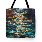 Yellow Light On Dark Water Tote Bag