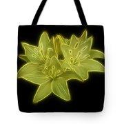 Yellow Lilies On Black Tote Bag by Sandy Keeton