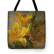 Yellow Lilies With Old Canvas Texture Background Tote Bag