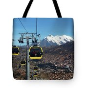 Yellow Line Cable Cars And Mt Illimani La Paz Bolivia Tote Bag