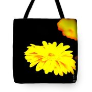 Yellow Mum On Black Backround Tote Bag