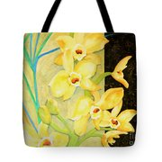 Yellow Orchids With Black Screen Tote Bag