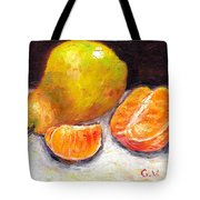 Yellow Pear With Tangerine Slices Grace Venditti Montreal Art Tote Bag