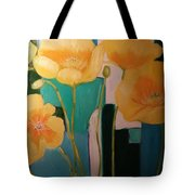 Yellow Poppies On Blue Tote Bag