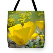 Yellow Poppy Flower Meadow Landscape Art Prints Baslee Troutman Tote Bag