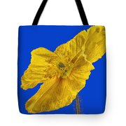 Yellow Poppy On Blue Background Tote Bag