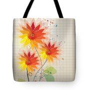 Yellow Red Floral Illustration Tote Bag