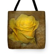 Yellow Rose With Old Notes Paper On The Background Tote Bag